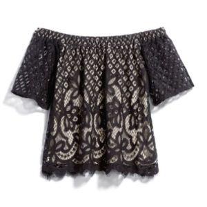 Tops - NWT Off the shoulder black lace top L